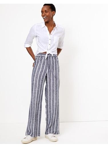 Marks & Spencer Çizgili Keten Pantolon Lacivert